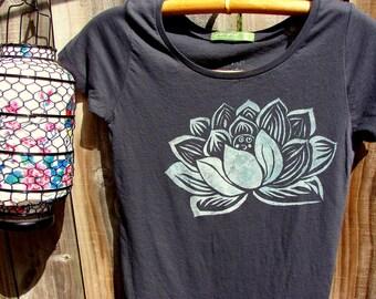 Indian Lotus Organic Cotton Tee - Charcoal