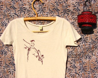 Asian Bird and Spring Blossoms Organic Cotton Tee