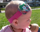 Pink Headband with Fabric and Felt Flower, 3 Months & Up, FREE SHIPPING