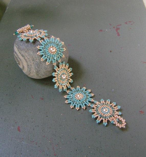 Apricot Gold and Seafoam Sunburst Bracelet
