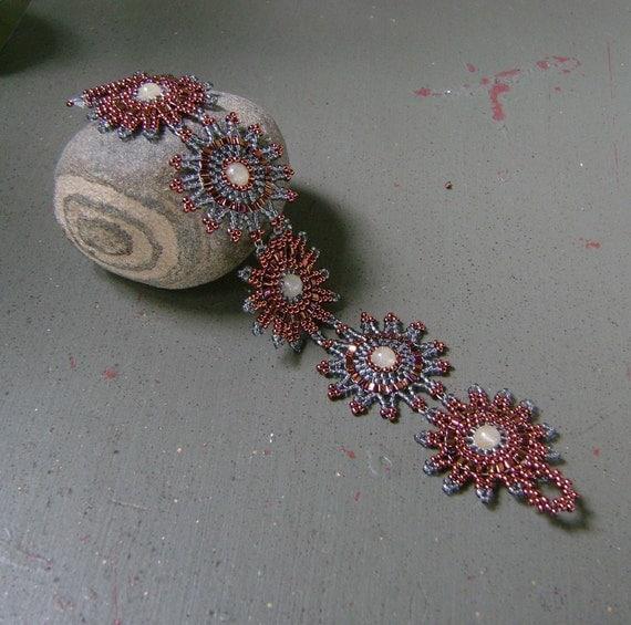 Penny and Charcoal Beaded Sunburst Bracelet