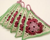 Bunting, Crochet Pennants, Granny Chic Garland in Green, Maroon, Pink and Cream