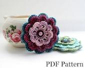 Crochet Flower Pattern, PDF download, DIY tutorial, written pattern, suitable for beginners