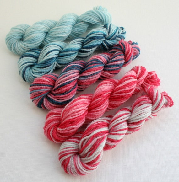 Hand Dyed Sock Yarn Mini Skeins, Red, Pink, Navy and Light Blue