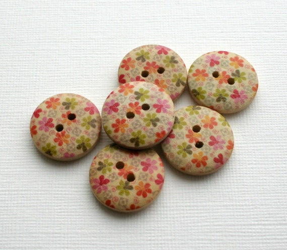 Wooden Buttons, Floral Pattern, green, orange and pink, set of 6, supplies
