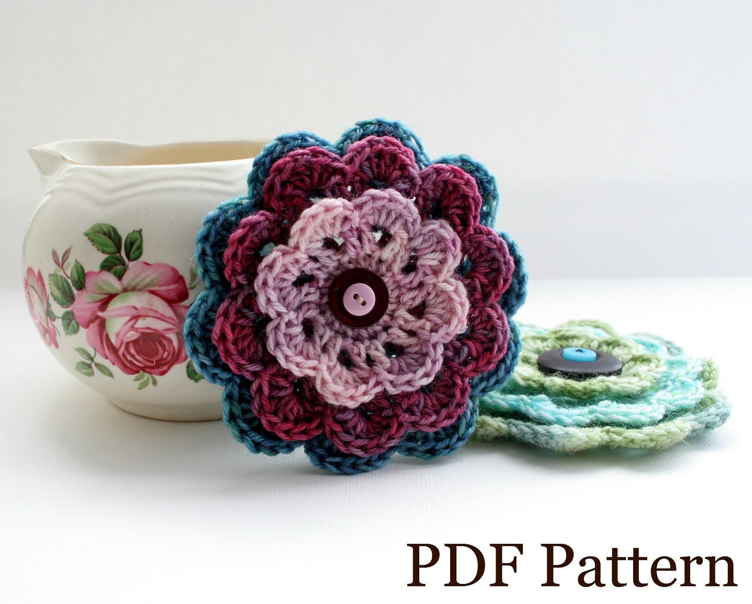 Crochet Stitches Uk Pdf : Crochet Flower Pattern PDF download DIY tutorial by EadenYarns