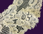 ANTIQUE LACE TRIM - Length of Victorian Floral Embroidered Net Lace - 84 Inches (7 Feet)