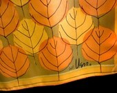 1960s Vintage Long Signed Vera Scarf in Bold and Graphic Golds, Orange and Black with VERA and Ladybug Signature