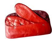 1950s Vintage Red Leather Men's Slippers and Leather Case - Never Used - For Travel - Made in Argentina