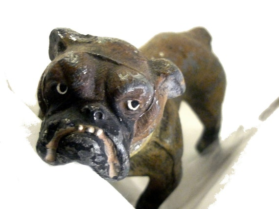 Antique Cast Iron Victorian Bulldog with 3 Legs (as is) - Germany