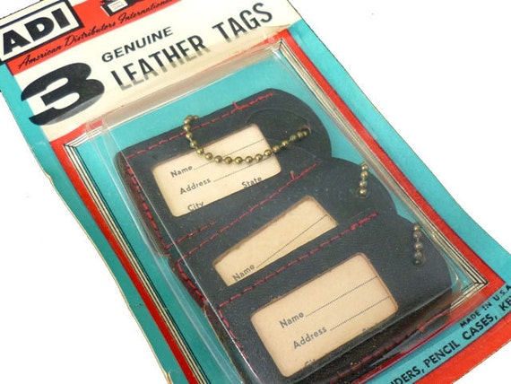 3 Vintage 1950s Leather Luggage Tags - Black Leather Stitched in Red with Chain - Name and Address Insert - In Original Packaging