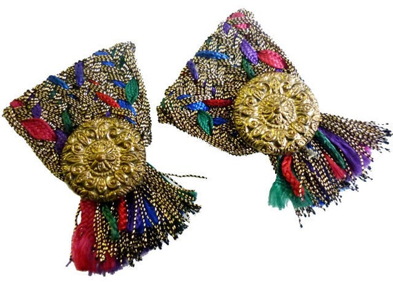 1960s Vintage Shoe Clips in Gold Metallic with Red, Blue and Green Threads and Gold Buttons - also Dress Clips