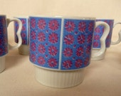 Vintage  Stacking Mugs Set of Six  Patchwork Daisy Japan