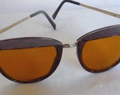 Vintage Sunglasses Marbled Tortoise and Gold Visor Frames Retro Rounded