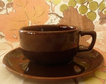 Vintage Mid Century Brusche Bauer Al Fresco Cup and Saucer Indio Brown
