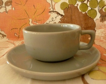 Vintage Mid Century Misty Grey Brusche Bauer Cup and Saucer
