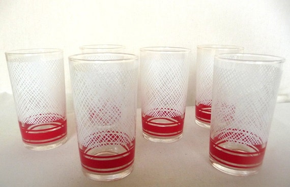 Vintage Libbey Drinking Glasses Red and White Peppermint set of six