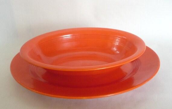 Vintage Harlequin Fiesta Oval Serving Plate and Bowl Red Orange Homer Laughlin