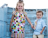 Sibling set: girls  Peasant Dress with matching boy tie or tie shirt, sizes 1-9 custom order