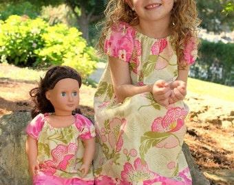 Peasant Dress PDF Pattern with Doll Dress