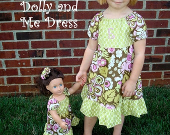 Tiered Peasant Dress with Doll Dress PDF Sewing Pattern with video tutorial, SIZES 1-6