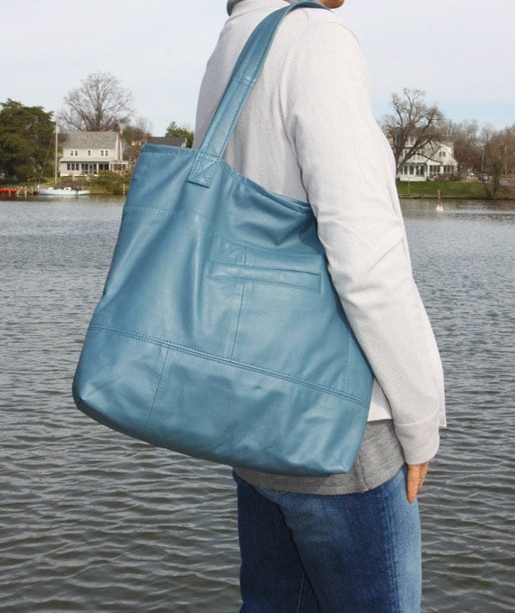 REDUCED - Light Blue Upcycled Uptown Tote