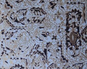36w VINTAGE Blue Metallic Gold Floral Cotton Fabric 2 Yards