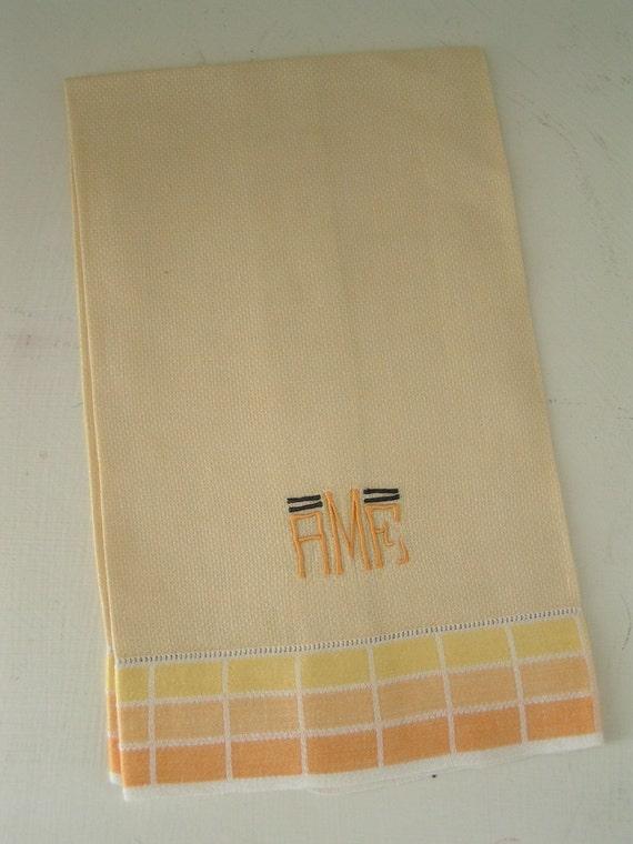 Vintage Monogrammed AMF Guest Hand Towel
