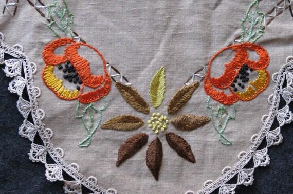 """Vintage Arts & Crafts Embroidered Linen Runner Floral 54"""" Long"""