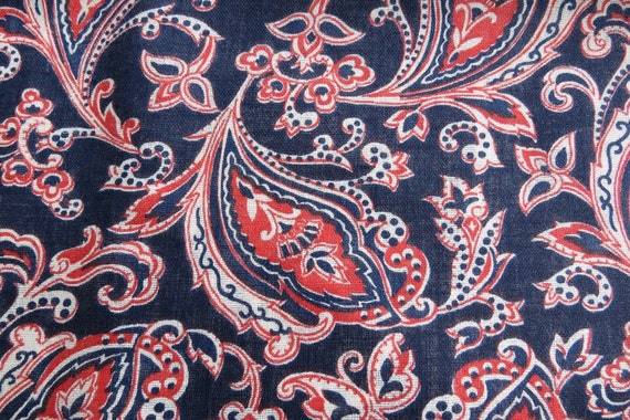 Vintage Blue Red Paisley Cotton Print Fabric 1.5 yards