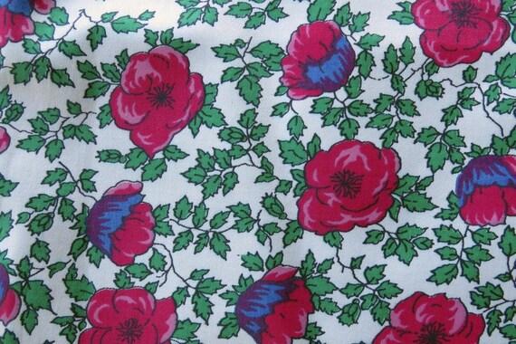Vintage Pink Red Floral Print Fabric 2 yards