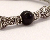 RESERVE LISTING FOR BELLALUNA316 -- Viking Knit Bracelet with Black Glass Bead