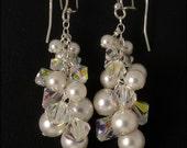 White Pearl & Crystal AB Cluster Earrings