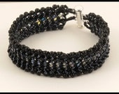 Black Crystal & Pearl Woven Bracelet - 7.25 inches
