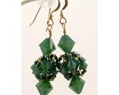 Swarovski Palace Green Opal Crystal Woven  Earrings