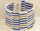 Woven White, Cobalt, Hematite with Gold Cuff - 7.5 inches