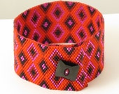 Red Diamonds Woven Bracelet - 7.5 Inches