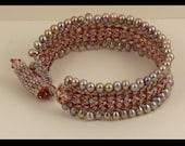 Mauve Pearl & Crystal Woven Bracelet - Average size