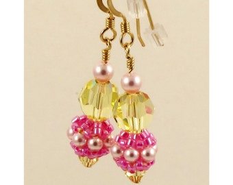Pink and Yellow Swarovski Crystal Earrings - Beaded Beads