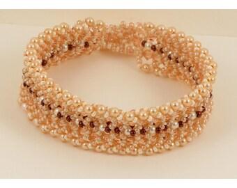 Swarovski Peach Woven Bracelet  - 7.5 Inches