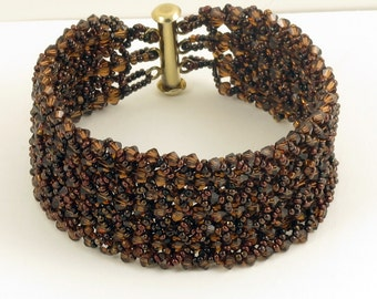 Swarovski Smoked Topaz Woven Bracelet - 7 inches