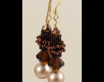 Beaded Bead Earrings in Mocca Smoked Topaz