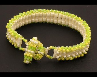 Daffodil with Eggshell  Ladder Bracelet 6.75 inches