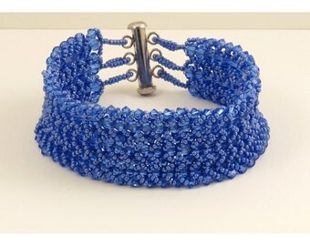 Bracelet Woven with Swarovski Sapphire Crystals - 7.25 inches