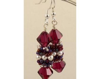 Swarovski Ruby & Pearl Beaded Bead Earrings