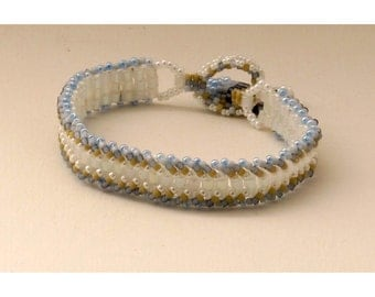 Pale Blue and White Woven Bracelet - 7.25 inches
