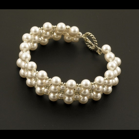 White Pearl with Silver Woven Bracelet - 6.5 inches