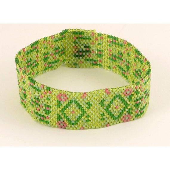 Spring Green Woven Bracelet -  7 inches