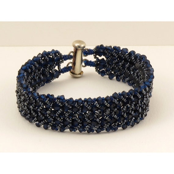 Dark Indigo Crystal with Hematite Woven Bracelet - 7.25 inches