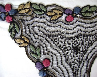 Vintage Edwardian / Teens/ Early 1920s Collar  Embroidered Lace, Black Beaded Net with Multicolor Floral Designs - Very Downton Abbey!